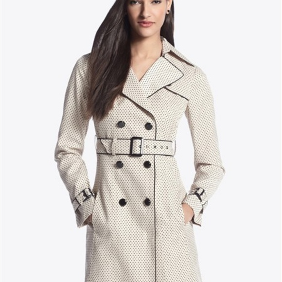 White House Black Market Jackets & Blazers - WHBM Polka Dot Trench Coat Long Jacket Lining C6